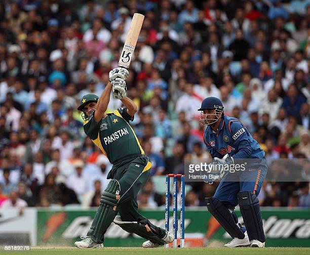MisbahulHaq of Pakistan hits over mid wicket during the Twenty20 warm up match between India and Pakistan at The Brit Oval on June 3 2009 in London...
