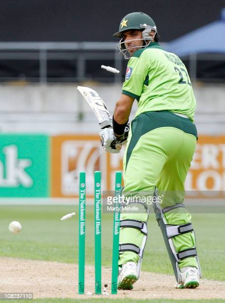 MisbahulHaq of Pakistan is bowled out during game one of the One Day Series between the New Zealand Blackcaps and Pakistan at Westpac Stadium on...