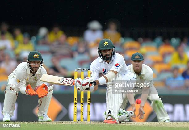MisbahulHaq of Pakistan plays a shot during day four of the First Test match between Australia and Pakistan at The Gabba on December 18 2016 in...