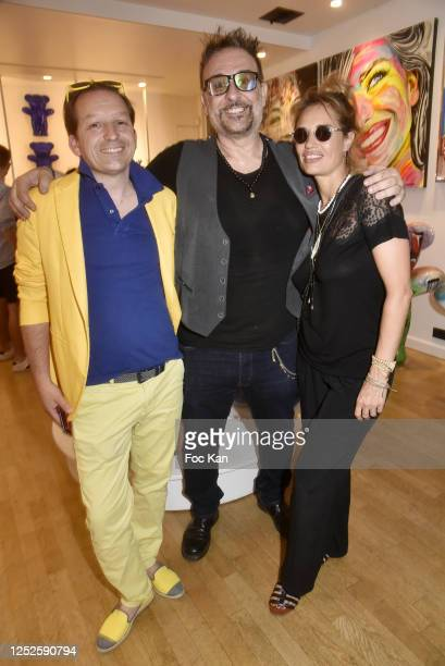 """Mischa Aznavour, Jacky Jayet and Nikita Lespinasse attend """"Jayet Et Ses Ours"""" Exhibition Preview at Galerie Art and Sound on June 25, 2020 in Paris,..."""