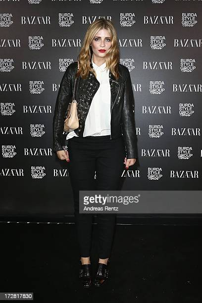 Mischa Barton attends the Burda Style Group Preview Harper's Bazaar pre launch party during the MercedesBenz Fashion Week Spring/Summer 2014 on July...