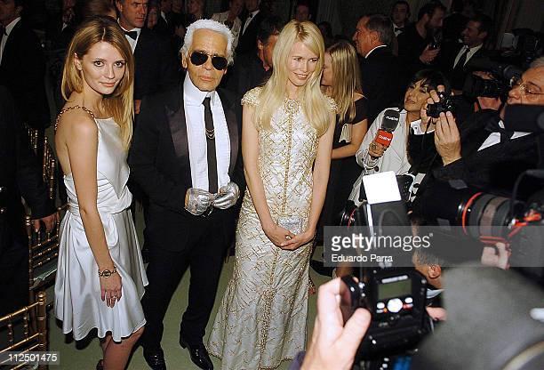 Mischa Barton, Claudia Schiffer and Karl Lagerfeld