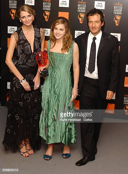 "Mischa Barton, Emma Watson and David Heyman in the press room at ""The Orange British Academy Film Awards"" at Odeon, Leicester Square. Emma Watson who..."