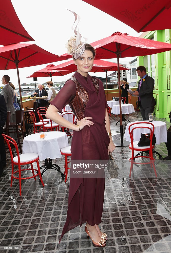 Mischa Barton poses at the Emirates marquee at the Melbourne Cup at Flemington Racecourse on November 6, 2012 in Melbourne, Australia.