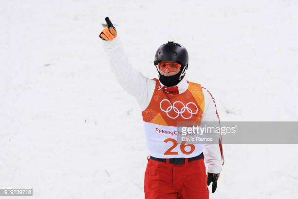Mischa Gasser of Switzerland competes during the Freestyle Skiing Men's Aerials Qualification on day eight of the PyeongChang 2018 Winter Olympic...