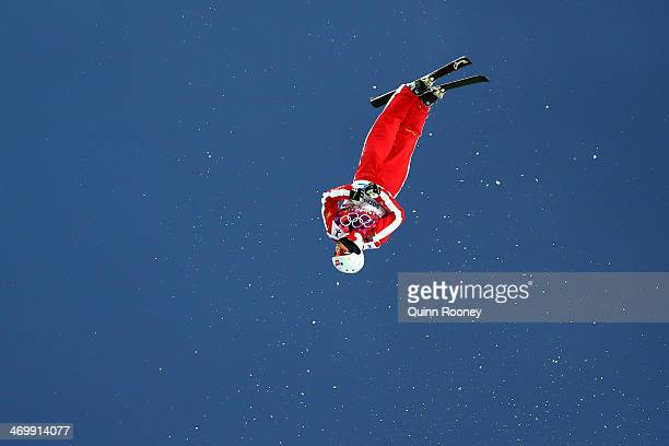 Mischa Gasser of Switzerland competes in the Freestyle Skiing Men's Aerials Qualification on day ten of the 2014 Winter Olympics at Rosa Khutor...