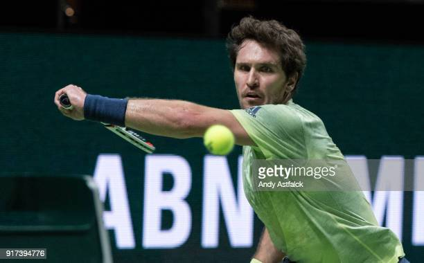 Mischa Zverev from Germany returns with a backhand during the ABN Amro World Tennis Tournament at the Rotterdam Ahoy on February 12 2018 in Rotterdam...