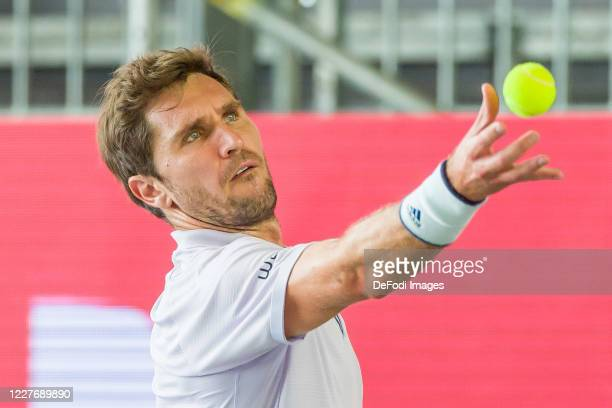 Mischa Zverev of Germany controls the ball during a match against Roberto Bautista Agut of Spain at day 6 of the tennis tournament bett1ACES at...