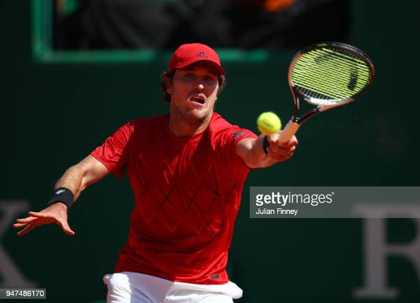 Mischa Zverev of Germany hits a forehand return during his Mens Singles match against Lucas Pouille of France at MonteCarlo Sporting Club on April 17...