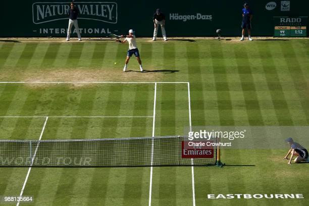 Mischa Zverev of Germany in action during his mens singles final against Lukas Lacko of Slovakia during Day Nine of the Nature Valley International...