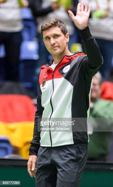 Mischa Zverev of Germany is seen during day two of the Davis Cup World Group first round between Germany and Belgium at Fraport Arena on February 4...