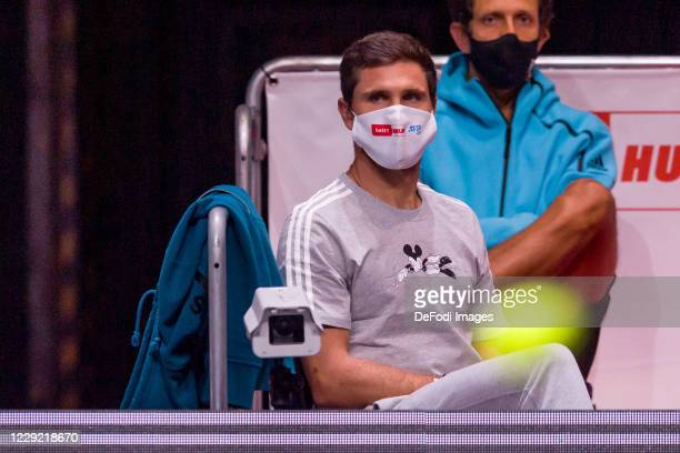 Mischa Zverev of Germany looks on during day three of the Bett1Hulks Championship tennis tournament at Lanxess Arena on October 21, 2020 in Cologne,...