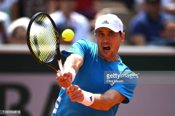 Mischa Zverev of Germany plays a backhand during his mens singles first round match against Richard Gasquet of France during Day two of the 2019...