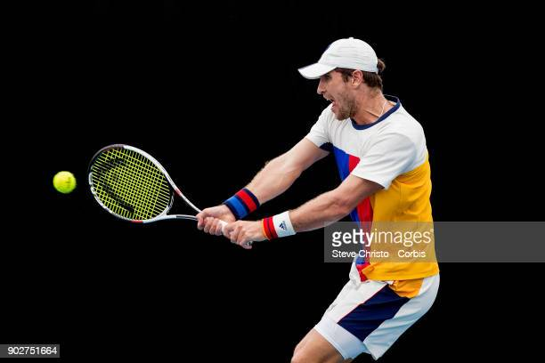 Mischa Zverev of Germany plays a backhand in his first round match against Leonardo Mayer of Argentina during day three of the 2018 Sydney...