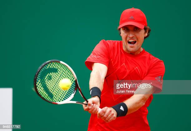 Mischa Zverev of Germany plays a backhand shot during the Round of 64 match between Mischa Zverev and Felix AugerAliassime during Day One of ATP...