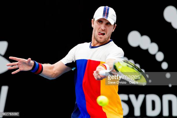 Mischa Zverev of Germany plays a forehand in his first round match against Leonardo Mayer of Argentina during day three of the 2018 Sydney...