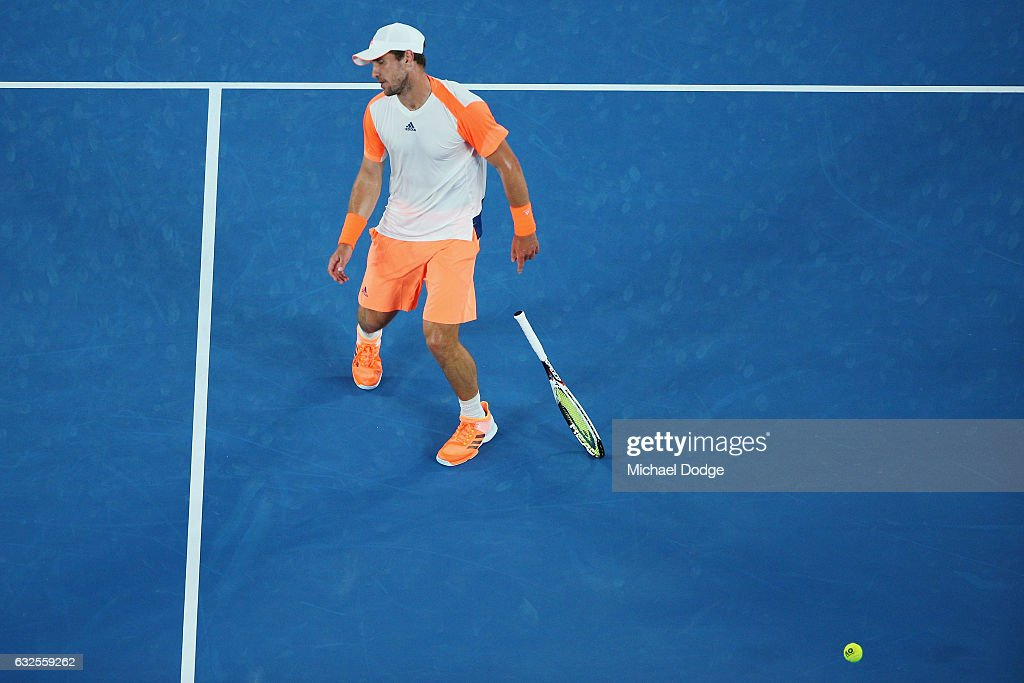 Mischa Zverev of Germany reacts after lsoing a point in his quarterfinal match against Roger Federer of Switzerland day nine of the 2017 Australian Open at Melbourne Park on January 24, 2017 in Melbourne, Australia.