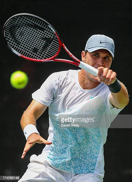 Mischa Zverev of Germany returns a ball against Richardas Berankis of Lithuania at the BBT Atlanta Open in Atlantic Station on July 23 2013 in...