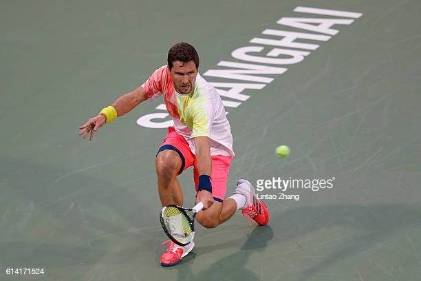 Mischa Zverev of Germany returns a shot against Nick Kyrgios of Australia during the Men's singles second round match on day four of Shanghai Rolex...