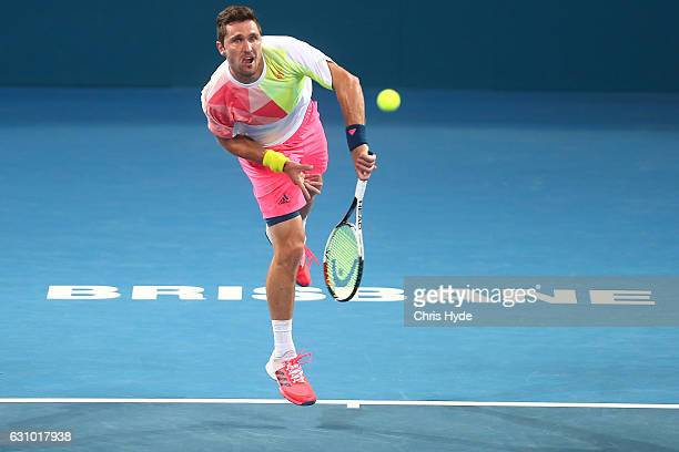 Mischa Zverev of Germany serves during his quarter final match against Rafael Nadal of Spain during day five of the 2017 Brisbane International at...