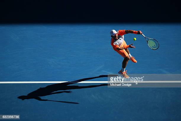 Mischa Zverev of Germany serves in his fourth round match against Andy Murray of Great Britain on day seven of the 2017 Australian Open at Melbourne...