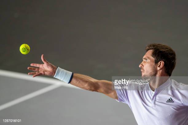 Mischa Zverev of Germany serves the ball to Roberto Bautista Agut of Spain of during day 6 of the tennis tournament bett1ACES at Hangar 6 of the...