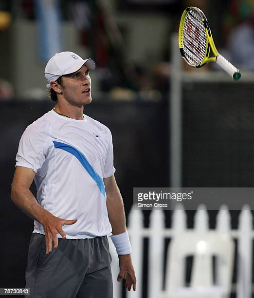 Mischa Zverev of Germany throws his racquet in his match against Vincent Spadea of the USA during day four of the Next Generation Adelaide...