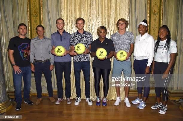 "Mischa Zverev, Rafael Nadal, Sam Querrey, Daniil Medvedev, Serena Williams, Alexander Zverev, Venus Williams and Cori ""Coco"" Gauff attend the 2019..."