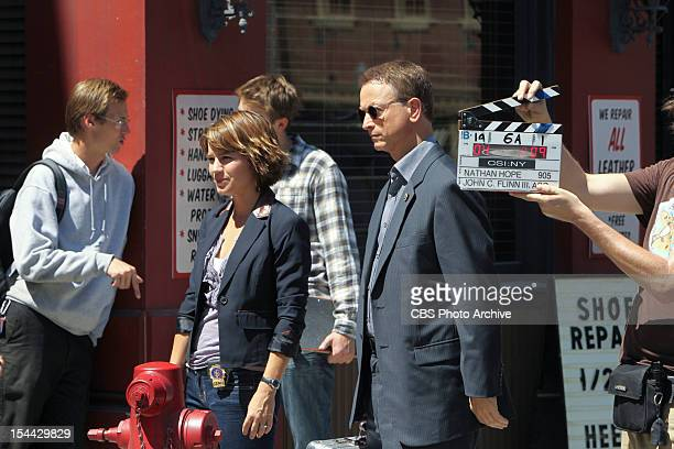 'Misconceptions' Gary Sinise and Anna Belknap prepare to shoot a scene on CSI NY scheduled to air Friday Oct 26 on the CBS Television Network