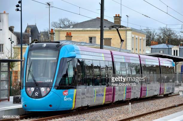 Mise en service de la ligne de TER tramtrain entre Nantes et Chateaubriant ici en gare de Chateaubriant le 28 Fevrier 2014 a Nantes Ouest de la...