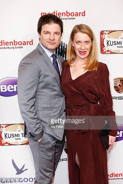 Misel Maticevic and Caroline Peters attend the Medienboard BerlinBrandenburg Reception on February 13 2016 in Berlin Germany