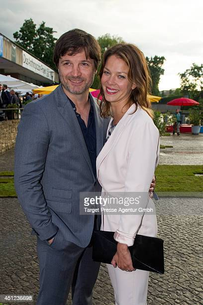 Misel Maticevic and Jessica Schwarz attend the producer party 2014 of the Alliance German Producer - Cinema And Television on June 25, 2014 in...