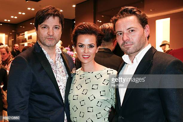 Misel Maticevic, Melika Foroutan and Juergen Lehmann attend the Etro Store Opening on March 12, 2015 in Berlin, Germany.