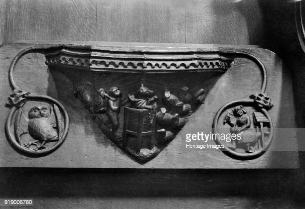 Misericord Beverley Minster East Riding of Yorkshire 1959 Detail of a carved wooden misericord depicting a fox preaching to geese