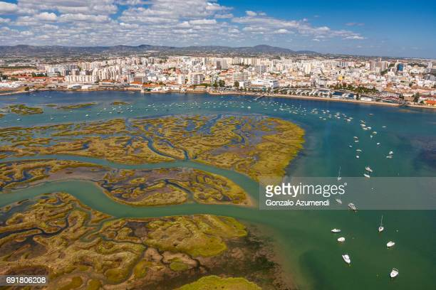 misericordia marsh in algarve - faro city portugal stock photos and pictures