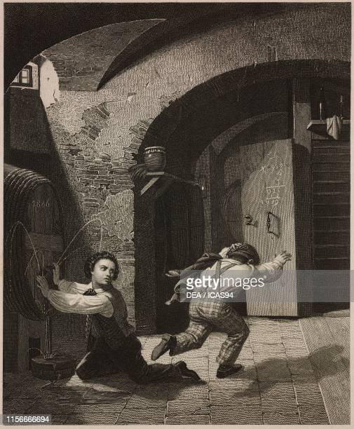 Misfortune of the vicious two boys fleeing after trying to force a wine barrel in a cellar engraving by P Singer from a painting by F Piloty from...
