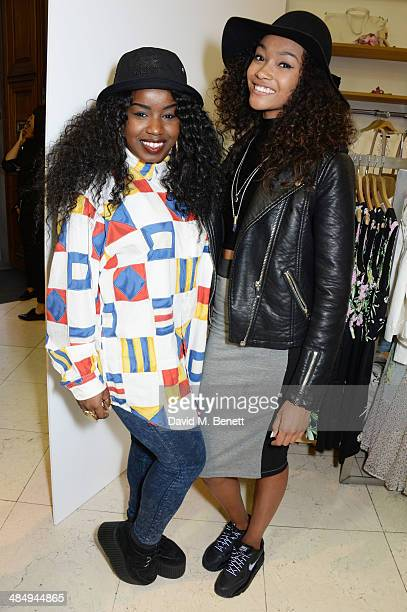 Misha B and Cheyenne Carty attend the French Connection #CantHelpMySelfie launch party at French Connection Regent Street store on April 15 2014 in...