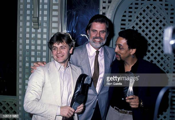 Misha Baryshnikov Taylor Hackford Gregory Hines during Press Announcement by Baryshnikov Hines New Film White Knights at Bistro Restaurant in Beverly...