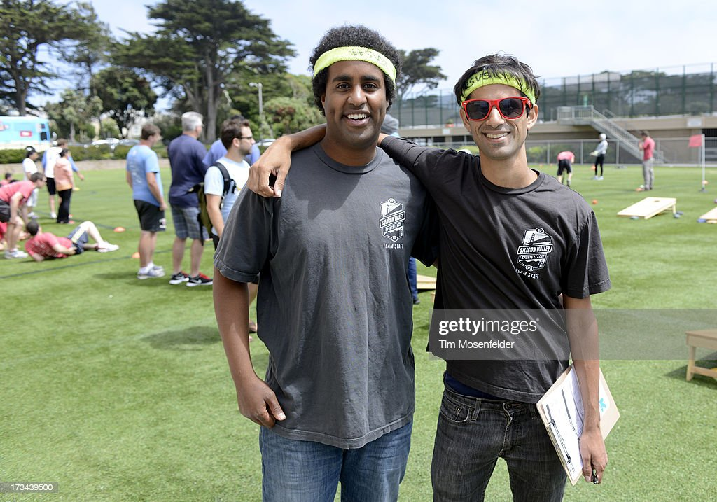 Misha Chellam (R) and his team pose at the Founder Institute's Silicon Valley Sports League on July 13, 2013 in San Francisco, California.