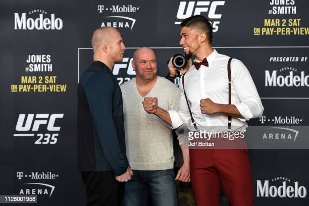 Misha Cirkunov of Lativa and Johnny Walker of Brazil face off during the UFC 235 Ultimate Media Day at TMobile Arena on February 27 2019 in Las Vegas...