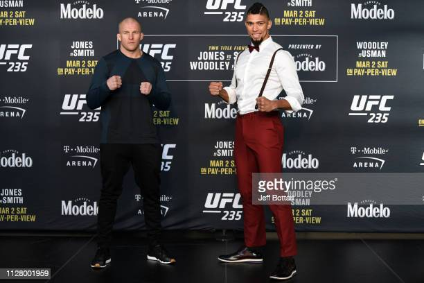 Misha Cirkunov of Lativa and Johnny Walker of Brazil pose for the media during the UFC 235 Ultimate Media Day at TMobile Arena on February 27 2019 in...