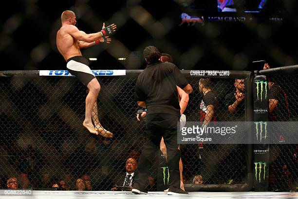 Misha Cirkunov of Latvia celebrates after defeating Alex Nicholson in their light heavyweight bout during the UFC Fight Night event at MGM Grand...
