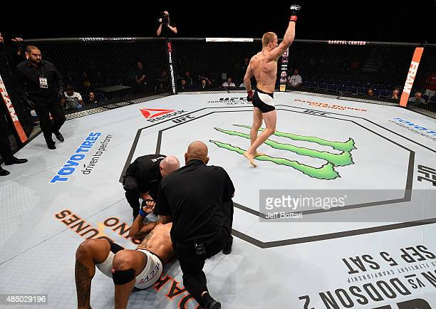 Misha Cirkunov of Latvia celebrates after his TKO victory over Daniel Jolly of the United States in their light heavyweight bout during the UFC event...