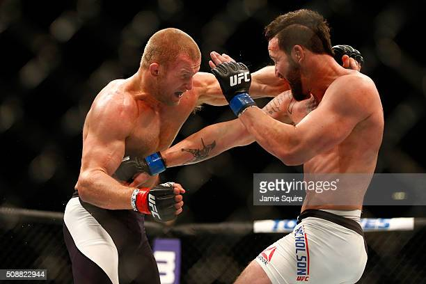 Misha Cirkunov of Latvia fights Alex Nicholson in their light heavyweight bout during the UFC Fight Night event at MGM Grand Garden Arena on February...