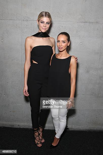 Misha Collection designer Michelle Aznavorian and a model pose backstage ahead of her St George New Generation show at MercedesBenz Fashion Week...