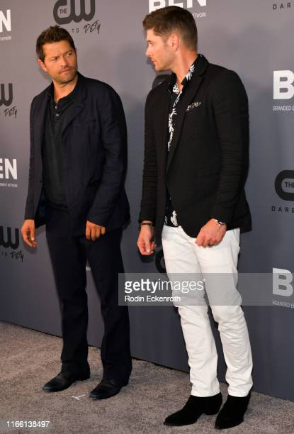 Misha Collins and Jensen Ackles attend The CW's Summer 2019 TCA Party sponsored by Branded Entertainment Network at The Beverly Hilton Hotel on...