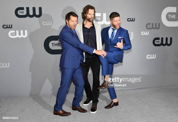 Misha Collins Jared Padalecki and Jensen Ackles attend the 2018 CW Network Upfront at The London Hotel on May 17 2018 in New York City