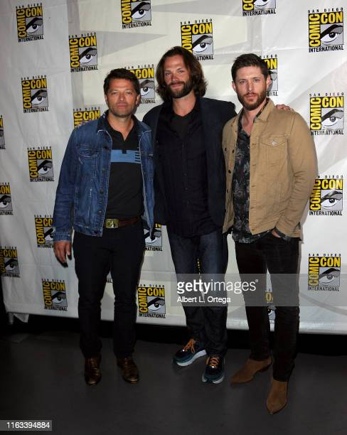 "Misha Collins, Jensen Ackles and Jared Padalecki attend the ""Supernatural"" Special Video Presentation and Q&A during 2019 Comic-Con International at..."