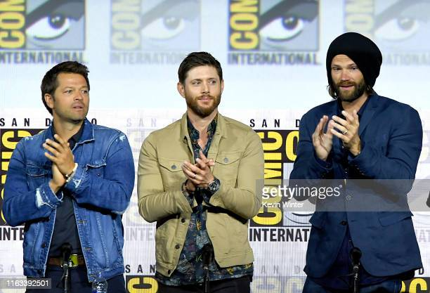 Misha Collins Jensen Ackles and Jared Padalecki speak at the Supernatural Special Video Presentation and QA during 2019 ComicCon International at San...