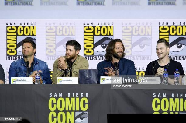 "Misha Collins, Jensen Ackles, Jared Padalecki, and Alexander Calvert speak at the ""Supernatural"" Special Video Presentation and Q&A during 2019..."